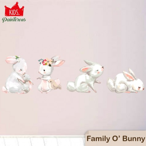 FAMILY OF BUNNY - PAINTEROUS KIDS WALL DECAL